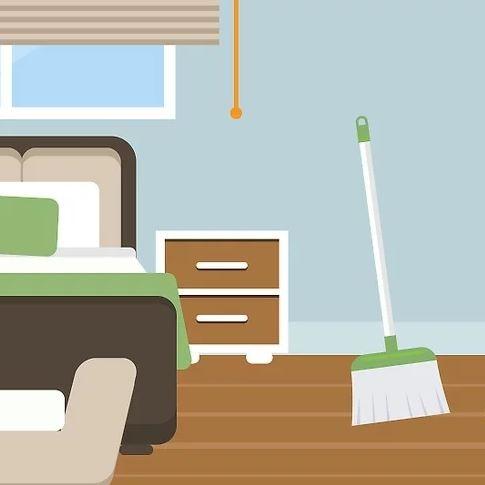 نظافت اتاق با ابزار نظافتی